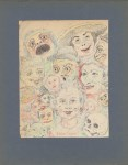 Lot #1611: JAMES ENSOR - Têtes Grotesques - Watercolor, wax crayon, and pencil drawing on paper