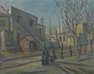 Lot #2112: L. S. LOWRY [imputee] - Crossing Gate near Pendlebury Station - Oil on canvasboard