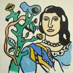 Lot #549: FERNAND LEGER - Femme a la fleur - Watercolor, gouache, and ink drawing on paper
