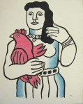 Lot #2061: FERNAND LEGER [imputee] - Femme avec un coq - Watercolor, gouache, and ink drawing on paper