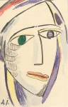 Lot #2236: ALEXEJ VON JAWLENSKY [imputee] - Abstrakter Kopf - Watercolor and pen and ink on paper