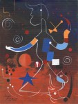 Lot #991: JOAN MIRO - Personnage - Oil on paper mounted on cardboard