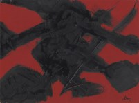 Lot #1422: ROBERT MOTHERWELL - Blackness and Redness - Acrylic on board