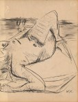 Lot #1293: WILLEM DE KOONING - Female Nude - Pen and ink and wash drawing on paper