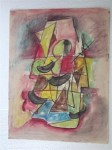 Lot #2238: JALED MUYAES - Abstracion Trapecio - Gouache and watercolor on paper
