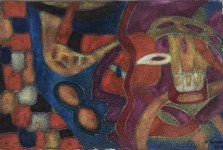 Lot #84: KARIMA MUYAES - Travelers - Oil and pigments on paper