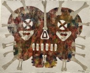 Lot #1079: KARIMA MUYAES - Mystic - Collage wth acrylic on Mexican amate bark paper