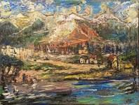 Lot #1317: OSKAR KOKOSCHKA - Dorf am Fluss - Oil on canvas