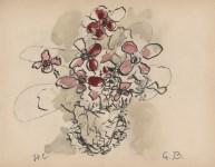 Lot #1278: GEORGES BRAQUE - Fleurs rouges - Original hand-colored gouache pochoir on collotype