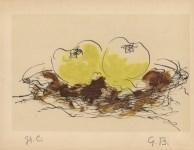 Lot #245: GEORGES BRAQUE - Pommes - Original hand-colored gouache pochoir on collotype