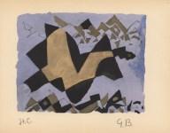 Lot #559: GEORGES BRAQUE - Etude pour un oiseau - Original hand-colored gouache pochoir on collotype