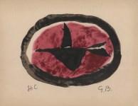 Lot #294: GEORGES BRAQUE - Oiseau au chouchant - Original hand-colored gouache pochoir on collotype