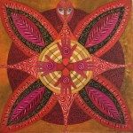 Lot #1133: KARIMA MUYAES - Mandala Huichol - Oil on canvas