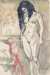 Lot #1845: EDVARD MUNCH [d'apres] - Naken kvinne ved sengen - Watercolor on paper