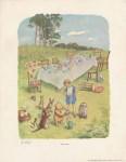 Lot #244: E(RNEST) H(OWARD) SHEPARD - Pooh's Party - Original color offset lithograph