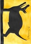 Lot #992: RUFINO TAMAYO - Perro aullando - Watercolor and gouache on paper