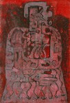 Lot #33: KARIMA MUYAES - Visionary in Red - Color monotype on paper