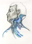 Lot #1390: ESTELA WILLIAMS - Canto de Pajaro - Watercolor and ink on paper