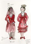 Lot #1346: ESTELA WILLIAMS - Costume Design: 'The Rover' - Watercolor, ink, and colored pencils on paper