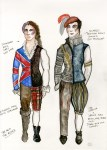 Lot #1345: ESTELA WILLIAMS - Costume Design: 'The Rover II' - Watercolor, ink, and colored pencils on paper