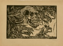 Lot #1399: JOSE CHAVEZ MORADO - Calavera contra el Pueblo - Woodcut
