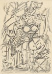 Lot #144: WILLEM DE KOONING - Study of a Woman - Pen and ink drawing on paper
