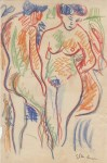 Lot #601: ERNST LUDWIG KIRCHNER - Die Liebenden - Crayon and colored pencil drawing on paper
