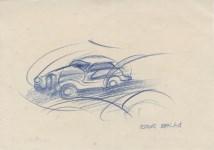 Lot #714: GIACOMO BALLA - Automobile in corsa – studio - Color pencil drawing on paper