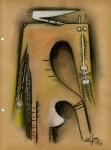 Lot #1366: WIFREDO LAM - Composicion - Mixed media (Gouache, pastel, and crayon) on paper