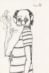 Lot #2143: GEORGE CONDO - Cigarette - Ink drawing on paper