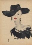Lot #1667: RENE GRUAU [imputee] - Signora elegante con cappello nero - Watercolor and ink on paper