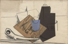 Lot #329: PABLO PICASSO - Nature morte - l'affaire Caillaux - Papier colle (collage) and charcoal drawing on paper