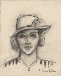 Lot #241: HENRI MATISSE - Portrait d'une jeune femme portant un chapeau - Charcoal and estompe drawing on paper