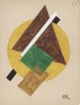 Lot #156: IVAN KLIUN - Spherical Suprematism #2 - Watercolor and pencil drawing on paper