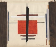 Lot #131: ILYA CHASHNIK - Suprematist Composition - Watercolor and pencil drawing on paper