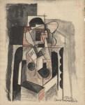 Lot #1335: LOUIS MARCOUSSIS - Dame au chapeau - Gouache, watercolor, and crayon drawing on paper