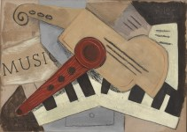 Lot #1358: JACQUES LIPCHITZ - Composition avec des instruments - Papier colle (collage), oil, gouache, and charcoal painting on board