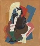 Lot #1334: ALBERT GLEIZES - Dame au piano - Gouache and pencil drawing on paper