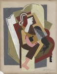 Lot #90: ALBERT GLEIZES - Titre inconnu #1 - Gouache and pencil drawing on card