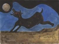Lot #260: RUFINO TAMAYO - Perro ladrandole a la Luna - Watercolor and gouache drawing on paper
