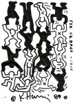 Lot #762: KEITH HARING - White & Black Acrobats - Black marker drawing on paper