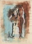 Lot #509: MARINO MARINI - Giocolieri e Cavallo - Gouache, watercolor, and ink drawing on paper