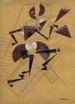 Lot #539: HENRI LAURENS - Figure cubiste dansante - Papier colle (collage), gouache, and crayon drawing on paper