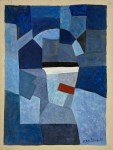 Lot #1359: SERGE POLIAKOFF - Composition abstraite au rectangle rouge - Oil on paper