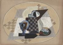 Lot #328: GINO SEVERINI - Nature morte avec pichet et verre - Gouache drawing on card