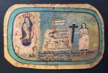Lot #38: MEXICAN SCHOOL (EX-VOTO ARTIST) 20TH CENTURY - Vintage Ex-Voto/Retablo: Lucrecia Perez - Oil on tin