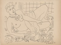 Lot #1812: HENRI MATISSE [imputee] - Nu au repos - Pen and ink drawing on paper