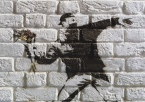 Lot #530: BANKSY - Flower Thrower - Color offset lithograph