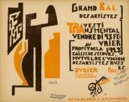 Lot #1245: MIKHAIL LARIONOV - Grand Bal des Artistes…Travesti Transmental…1923 - Original color woodcut