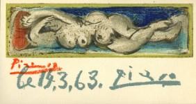 Lot #1287: PABLO PICASSO - Femme nue couchee - Original color lithograph